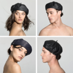 Black Leather Brut Beret by Laulhère of Paris